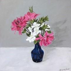 Azaleas in Blue Vase